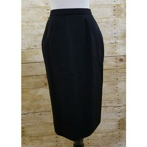 Pendleton black wool midi pencil skirt